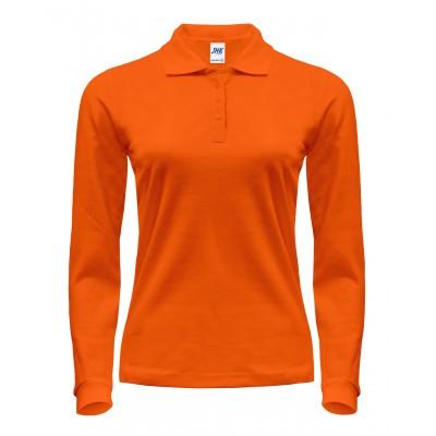Polo damskie z długim rękawem pomarańczowe