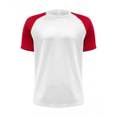 JHK T-shirt męski Sport CONTRAST biało-czerwony