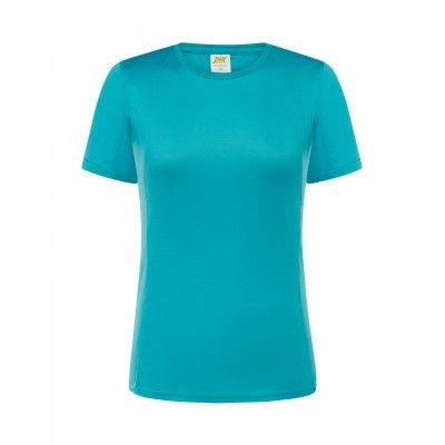 T-shirt damski poliestrowy turkusowy