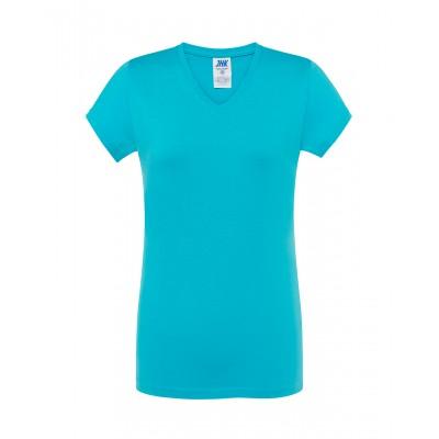 Koszulka damska V-neck turkusowa